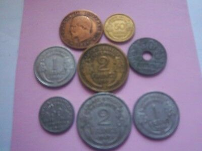 8 Mixed  French Pre Euro  Coins [ H 4034]  1857-1948 Collectors See Photos