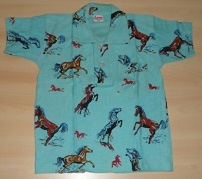 VINTAGE 1970's UNWORN BOYS 'FARMER' BLUE HORSE PRINTED POLO T-SHIRT AGE 4 YEARS