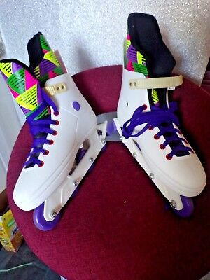 4 Wheel Roller Blades In White Multi Colour Contrasting Lace & Inside Size 8