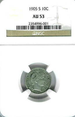 1905-S Barber Dime : NGC AU53