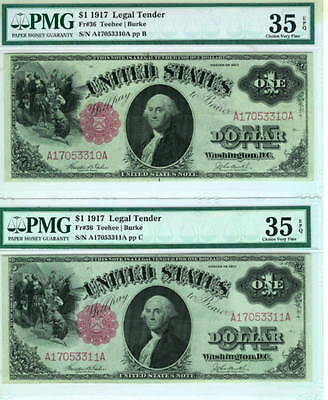 Lot of 2 : 1917 $1 Legal Tender FR#36 Consecutive Serial Numbers PMG VF35