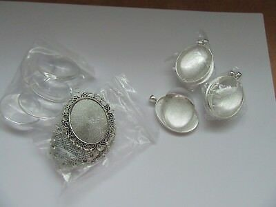 10 SETS LARGE OVAL CABOCHON TRAY BEZEL SETTINGS AND GLASS DOMES 30 X 40mm NEW