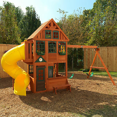 Backyard Discovery Monterey Cedar Swing Play Set Two Upper And Lower