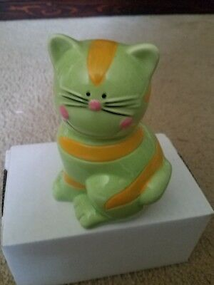 Kitty Cat striped green yellow piggy coin bank Vintage Ceramic