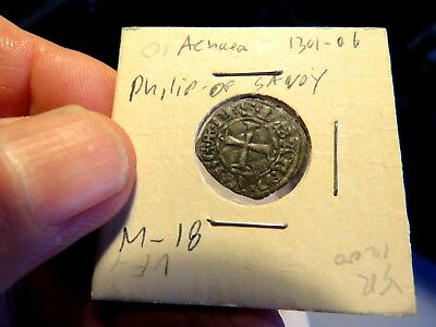 Achaea Crusader States coin Philip of SAVOY 1301-1306 AD (M-18)