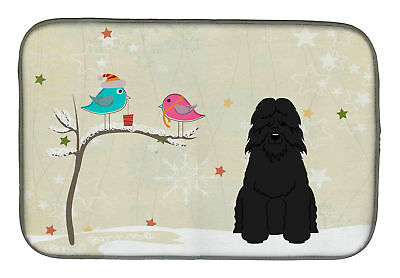 Christmas Presents Between Friends Bouvier des Flandres Dish Drying Mat