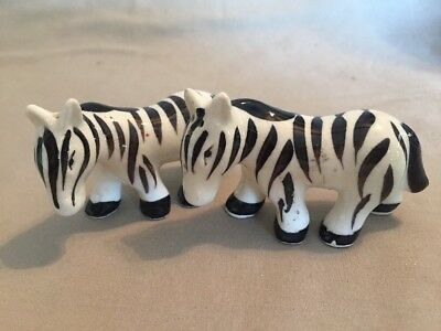 vintage ZEBRA SALT PEPPER SHAKERS cork stoppers JAPAN