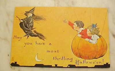 1912 Tucks Halloween Divided Back Postcard Witch And Pumpkin Children