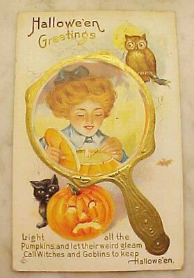 1919 Halloween Postcard Woman Owl Black Cat Pumpkin Divided Back