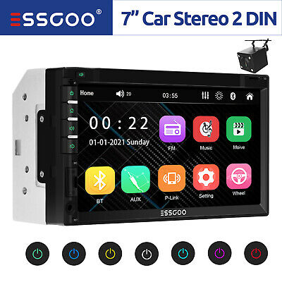 """7"""" 2DIN Car Stereo Radio MP5 Player Touch Screen FM USB AUX HD Bluetooth +Camera"""
