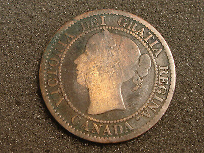 1858 Canada Large One Cent Queen Victoria - scratch on reverse