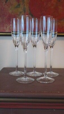 5 Signed Lenox Crystal Firelight Flutes Champagne Glasses