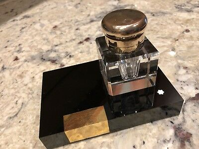 Vintage Masterpiece Series MONTBLANC Lead Crystal Inkwell + Stand BLACK & GOLD