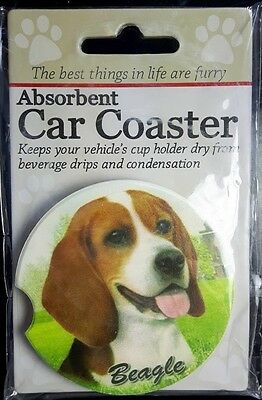New BEAGLE Dog Absorbent Car Coaster Cup Holder Dry Stoneware FREE SHIPPING