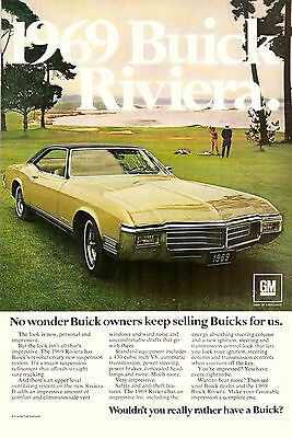 1969 Buick Riviera Car Automobile Retro Print Ad Vintage Advertisement VTG 60s