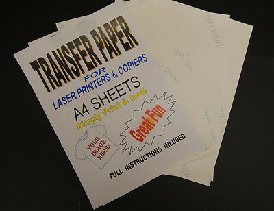 100x A4 Laser & Copier T Shirt Thermal Transfer Paper Sheets For Light Fabrics