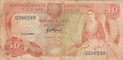 50 Cents Vg Banknote From Cyprus 1989!pick-49