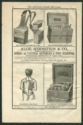 1881 Antique Advertisement Aloe Hernstein & Co Electrical Surgical Instruments