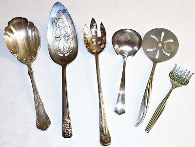 LOT of (6) ASSORTED Antique/Vintage SILVERPLATE FLATWARE SERVING PIECES~LOT #2!