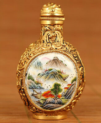 rare Chinese Old enamels Cloisonne Hand painting landscape royal snuff bottle