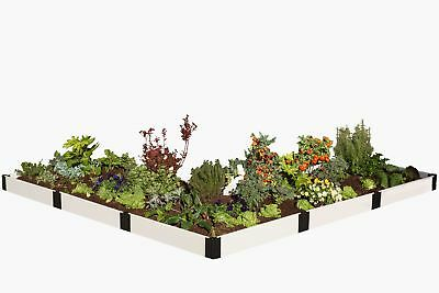 Frame It All Classic White L' Shaped 12 ft x 12 ft Composite Raised Garden