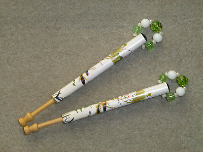 PAIR LACE GIMP BOBBINS IN BAMBOO - pond and fish picture
