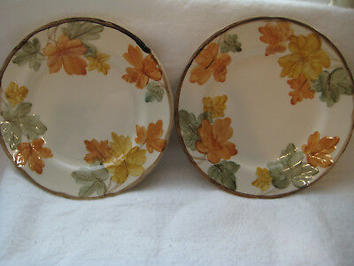 """(2) Franciscan OCTOBER 10.5"""" Fall Colored Leaves Dinner Plates, Vintage 1970's"""