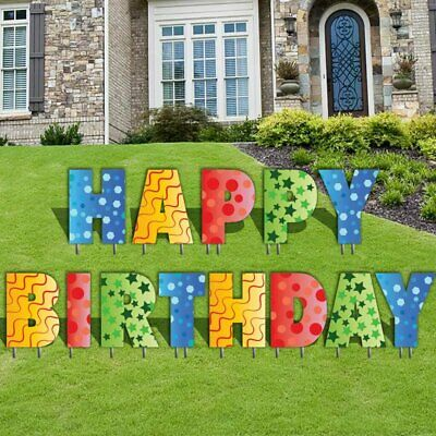 The Holiday Aisle 13 Piece Happy Birthday Letters Yard Sign Set