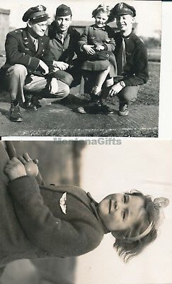 1944 WWII USAAF 435th OG, 77th TCS Welford Eng 2 Photos Me, buddies orphan girl