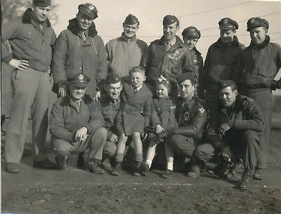 1944 USAAF 435th TCG 77th TCS's Glider Pilots nice patches orphans Welford Photo