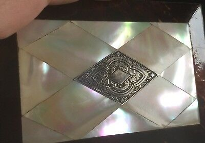 C19th Mother of Pearl Card Case, Silver Chased