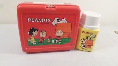 Vintage 1965  Red Peanuts Gang Snoopy Plastic Lunchbox & Thermos