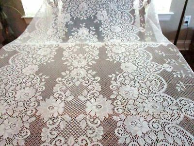 """Banquet  White Lace Tablecloth Table Cover  Floral Pattern Easy Care 65""""x102"""""""