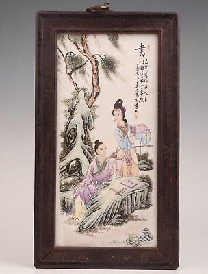 Old Wood Border Handmade Chinese Decorative Painting Porcelain Gift Collection
