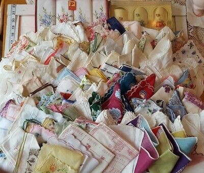 Vintage LOT OF 200 Mixed Floral Crocheted Lace Embroidered Assorted Hankies