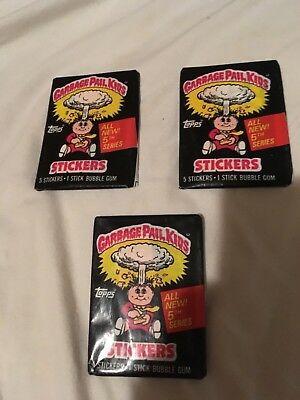 Garbage Pail Kids Series 5 1986 lot of 3 wax packs