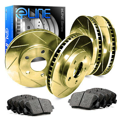 For 2006-2011 Buick Lucerne Front Rear Gold Slotted Brake Rotors+Ceramic Pads