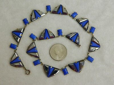 Vintage Art Deco Machine Age Cobalt Blue & Chrome Enamel Glass Necklace
