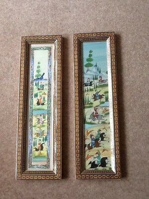 Pair Of Framed Chinese Hunting Scene Plaques/pictures In Decorative Wood Frames