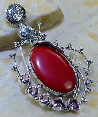 "Huge Red Coral+Pink Topaz Pendant 3 1/2""; 29 Grams;  T6678"
