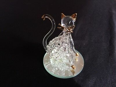 Vintage Collectable Glass Cat on Mirrored Plate Figurine