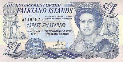Government Of The Falkland Islands 1 Pound Note 1984 Cu P-13