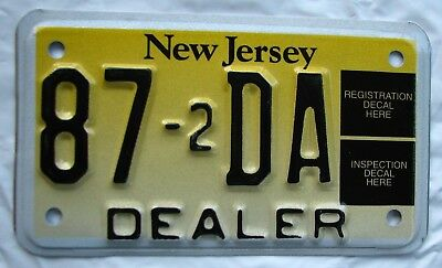 """Rare!  Garden State  Motorcycle  Cycle  Dealer License Plate """" 87 -2 Da """" Mint"""