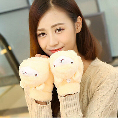 Cute Animals Women Winter Soft Fingerless Mittens Knitted Gloves Hand Warm Z