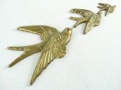 British Vintage Set of 3 Brass Swallow Wall Plaque Ex Le grenier London RRP £35