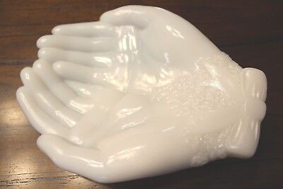 Vintage AVON White Milk Glass Open Hands for Soap,Jewelry,Trinkets,Raised Floral