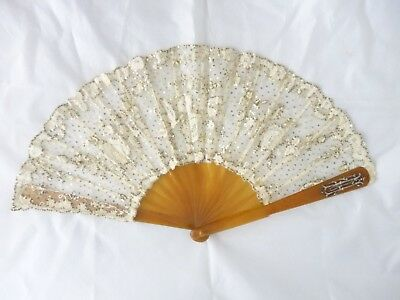 antique fan Brussels lace & sequin leaf celluloid type sticks diamond monogramme