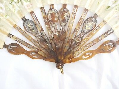 antique fan - carved classical figures & portrait faces hand painted leaf