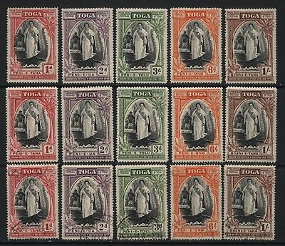 Tonga 1944 Queen Salote Silver Jubilee 3 Sets Mounted Mint + Used