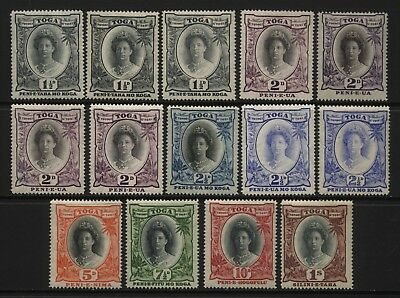 Tonga Collection 14 Queen Salote Stamps Mounted Mint